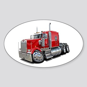 Kenworth W900 Red Truck Sticker (Oval)